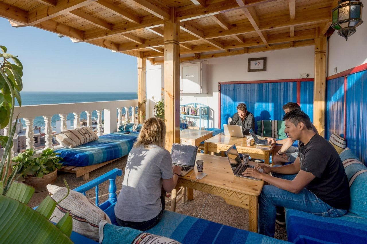 8 Residents | Taghazout | Traditional Turkish Beach Villa w/ Workspace + Terrace Overlooking The Sea