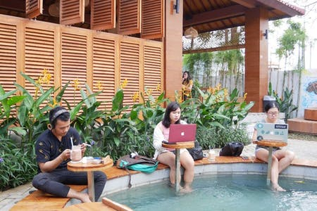 6 Residents | Seminyak | Natural Tropical House  w/ Coworking + Outdoor Areas